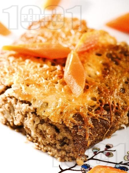 Постна вегетарианска мусака със соева кайма (гранули), гъби, картофи и сирене тофу - снимка на рецептата